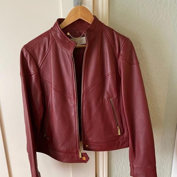Michael Kors Jackets & Blazers - Michael Kors Zip Front Scuba Leather Jacket
